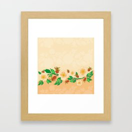 Abstract roses background Framed Art Print