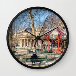Parc Monceau panorama in winter - Paris Wall Clock