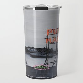Pike Place Market - Black & White & Neon -Seattle Washginton Travel Mug