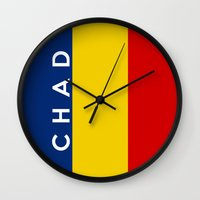 chad wys Wall Clocks featuring chad country flag name text by tony tudor