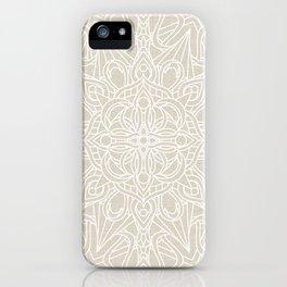 White Lace Mandala on Antique Ivory Linen Background iPhone Case
