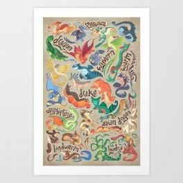 Mini Dragon Compendium Art Print