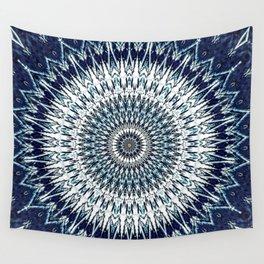 Indigo Navy White Mandala Design Wall Tapestry