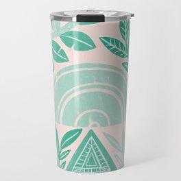Blush Geometric Botanical Travel Mug