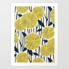 vintage, retro yellow, red and navy flower pattern Art Print