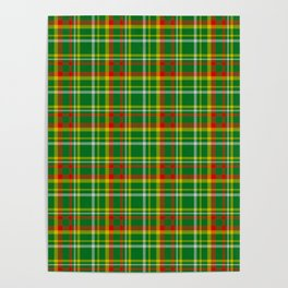 Green Red Yellow and White Plaid Poster