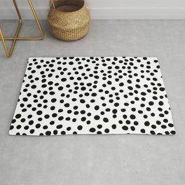 Dalmatian Spots Black and White Modern Print Rug