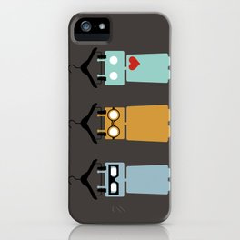 Robots on hangers - red heart iPhone Case