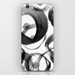 Modern abstract black white hand painted brushstrokes iPhone Skin