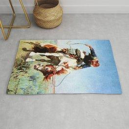 """Bronco Rider"" Western Art by W Herbert Dunton Rug"
