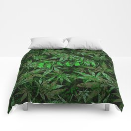 Just green - cannabis plant leaves #society6 Comforters