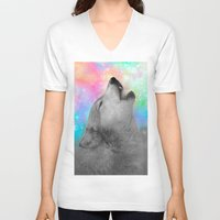 hobbes V-neck T-shirts featuring Breathing Dreams Like Air (Wolf Howl Abstract II: Gray) by soaring anchor designs