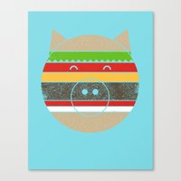 hamburger Canvas Prints featuring HAMburger by Hippos and Nuts - Caz King