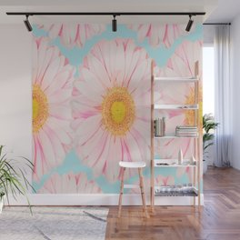 Pink summer flowers on a turquoise background - summer mood Wall Mural