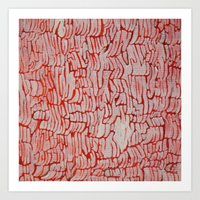 Orange/Red and White Abstract Texture Painting Art Print