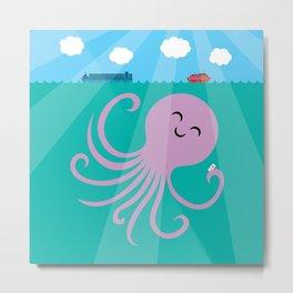Octopus Selfie Metal Print