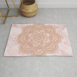 Rose gold mandala - pink marble Rug