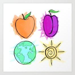 Peach, Plum, Earth, Sun Art Print