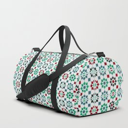 Seamless Pattern Oriental Style 2 - Mosaic Green / Red Duffle Bag