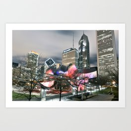 Jay Pritzker Pavilion at Night Art Print