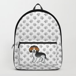 Cute Blue Ticked Beagle Dog Cartoon Illustration Backpack