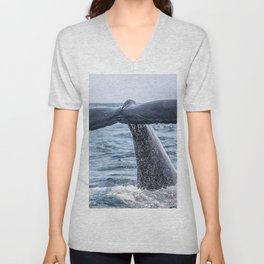 Whale Tail Breaching The Waves Unisex V-Neck