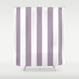Heliotrope gray - solid color - white vertical lines pattern Shower Curtain
