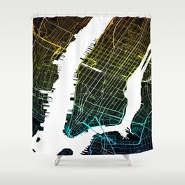 Colourful City Map of New York, USA Shower Curtain