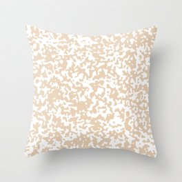 Small Spots - White and Pastel Brown Throw Pillow