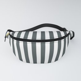 PPG Night Watch Pewter Green & White Stripes, Wide Vertical Line Pattern Fanny Pack