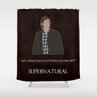 winchester Shower Curtains featuring Supernatural - Sam Winchester by MacGuffin Designs