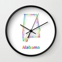 Rainbow Alabama map Wall Clock
