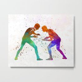 Wrestlers wrestling men 01 in watercolor Metal Print