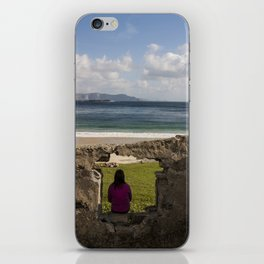 Woman sitting in silence and solitude Keem Beach Achill Island Mayo Ireland iPhone Skin