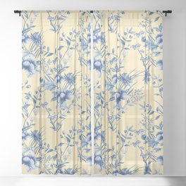 Chinoiserie Flowers Blue on Lemon Honey Creme Sheer Curtain