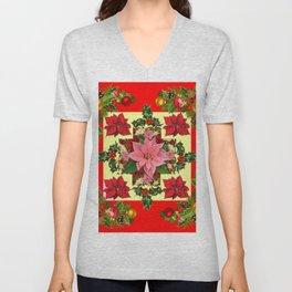 RED & PINK POINSETTIAS CHRISTMAS ORNAMENTS ART Unisex V-Neck