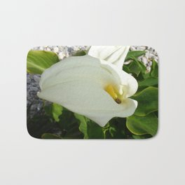 A Large Single White Calla Lily Flower Bath Mat