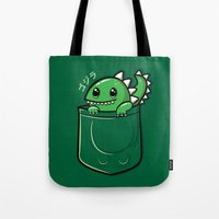 pocket Tote Bags featuring Pocket Godzilla by fishbiscuit