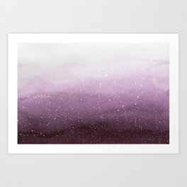 Falling Snow on Purple Art Print
