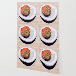 Persimmon on a Plate in Gouache Wallpaper