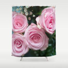 Light Pink Roses with bokeh Shower Curtain
