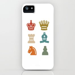 Colorful Retro Chess Pieces Chessboard Chess Club iPhone Case