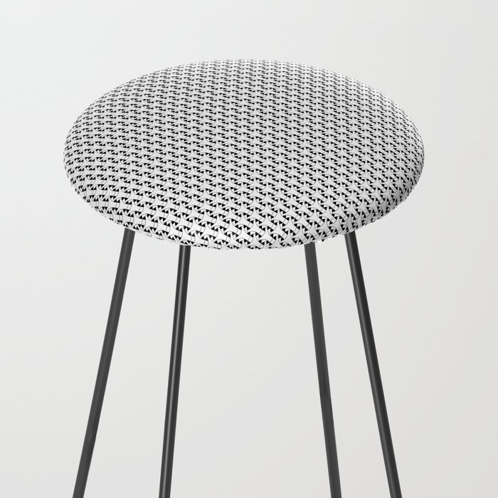 Black and White Basket Weave Shape Pattern 2 - Graphic Design Counter Stool