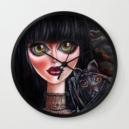 Batgirl Victorian Goth Girl with Grey Bat Big Green Eyes Wall Clock