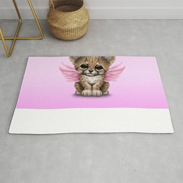 Cute Baby Cheetah Cub with Fairy Wings on Pink Rug