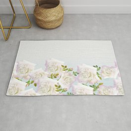Rustic White Wood Pink Green Abstract Flowers Rug