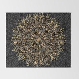 MANDALA IN BLACK AND GOLD Throw Blanket