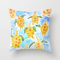turtles Throw Pillows featuring Turtles by Julie Lehite