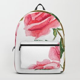 two pink roses watercolor Backpack