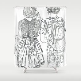 Geometric Japanese Black and White Linework Love couple Shower Curtain